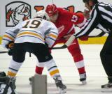 Pavel Datsyuk lines up for a faceoff against Buffalo's Cody Hodgson.