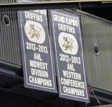 The banners for the Grand Rapids Griffins' 2012-13 accomplishments hanging at Van Andel Arena.