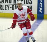 Teemu Pulkkinen skates at the blue line during pre-game warmups before a Grand Rapids Griffins game.