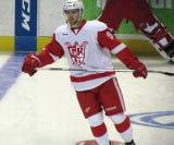 Riley Sheahan skates in the neutral zone during pre-game warmups before a Grand Rapids Griffins game.