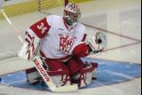 Petr Mrazek gloves a shot during pre-game warmups before a Grand Rapids Griffins game.