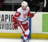 Tomas Jurco skates along the boards during pre-game warmups before a Grand Rapids Griffins game.