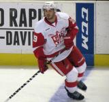 Landon Ferraro skates across the blue line during pre-game warmups before a Grand Rapids Griffins game.
