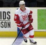 Cory Emmerton skates at the blue line during pre-game warmups before a Grand Rapids Griffins game.