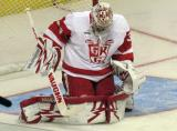 Petr Mrazek drops to his knees to make a stop during pre-game warmups before a Grand Rapids Griffins game.
