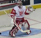Petr Mrazek stands in his crease during pre-game warmups before a Grand Rapids Griffins game.