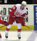Xavier Ouellet skates at the blue line during pre-game warmups before a Grand Rapids Griffins game.