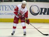 Andrej Nestrasil holds on to a puck during pre-game warmups before a Grand Rapids Griffins game.