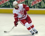 Teemu Pulkkinen turns during pre-game warmups before a Grand Rapids Griffins game.