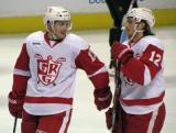Gustav Nyquist and Calle Jarnkrok skate back to the bench during a stop in play in a Grand Rapids Griffins game.