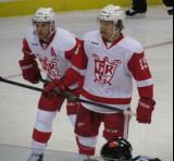 Nathan Paetsch and Mitch Callahan get set for a faceoff in a Grand Rapids Griffins game.