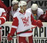 Ryan Sproul stands at the bench during a stop in play in a Grand Rapids Griffins game.
