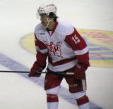 Mitch Callahan skates across the blue line during a stop in play in a Grand Rapids Griffins game.