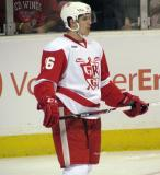 Xavier Ouellet stands on the ice during a stop in play in a Grand Rapids Griffins game.