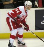 Brennan Evans gets set for a faceoff during a Grand Rapids Griffins game.