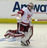 Petr Mrazek skates onto the ice to start the second period of a Grand Rapids Griffins game.