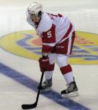 Adam Almquist lines up for a faceoff during a Grand Rapids Griffins game.