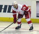 Landon Ferraro lines up for a faceoff during a Grand Rapids Griffins game.