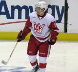 Teemu Pulkkinen complains about a penalty call during a Grand Rapids Griffins game.