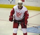 Xavier Ouellet gets set up in front of his own crease during a Grand Rapids Griffins game.