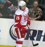 Mitch Callahan skates back to the bench during a stop in play in a Grand Rapids Griffins game.