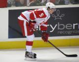 Adam Almquist gets set for a faceoff during a Grand Rapids Griffins game.
