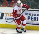 Alexey Marchenko skates off the boards during a Grand Rapids Griffins game.