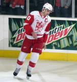 Jeff Hoggan takes a spin on the ice as the third star of a Grand Rapids Griffins game.