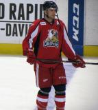 Nathan Paetsch stands at the blue line during pre-game warmups before a Grand Rapids Griffins game.