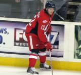 Calle Jarnkrok skates along the boards during pre-game warmups before a Grand Rapids Griffins game.