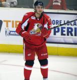 Tomas Jurco stands in the left faceoff circle during pre-game warmups before a Grand Rapids Griffins game.