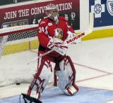Petr Mrazek gets set in the crease during pre-game warmups before a Grand Rapids Griffins game.