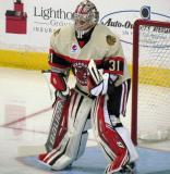 Antti Raanta of the Rockford IceHogs gets set in his crease at the start of a game against the Grand Rapids Griffins.