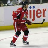 Brennan Evans watches the play develop from near the point during a Grand Rapids Griffins game.
