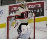 Kent Simpson of the Rockford IceHogs gets set in his crease after entering a game against the Grand Rapids Griffins.