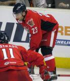 Triston Grant gets set for a faceoff during a Grand Rapids Griffins game.