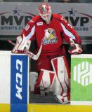 Tom McCollum leads his team onto the ice at the start of the third period of a Grand Rapids Griffins game.