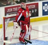 Tom McCollum gets set in his crease to start the third period of a Grand Rapids Griffins game.