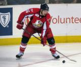 Xavier Ouellet looks to make an outlet pass during a Grand Rapids Griffins game.
