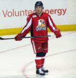 Mitch Callahan skates during a stop in play in a Grand Rapids Griffins game.