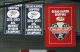The banners for the Grand Rapids Griffins' 2012-13 accomplishments hanging in the south end of Van Andel Arena.