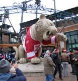 The tiger statue in front of Comerica Park adorned with a Red Wings alumni team jersey during the 2013 Hockeytown Winter Festival.
