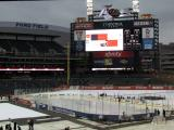 A view of the rink at Comerica Park used for the 2013 Hockeytown Winter Festival.