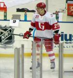 Martin Frk skates during pre-game warmups before the Grand Rapids Griffins play at Comerica Park.