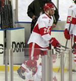 Landon Ferraro skates during pre-game warmups before the Grand Rapids Griffins play at Comerica Park.