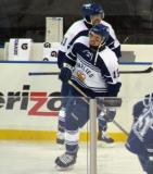 David Broll and Brad Ross of the Toronto Marlies skate during pre-game warmups before a game against the Grand Rapids Griffins at Comerica Park.