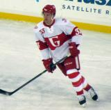 Luke Glendening skates during pre-game warmups before the Grand Rapids Griffins play at Comerica Park.