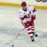 Teemu Pulkkinen skates with the puck during pre-game warmups before the Grand Rapids Griffins play at Comerica Park.