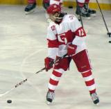 Calle Jarnkrok skates with the puck during pre-game warmups before the Grand Rapids Griffins play at Comerica Park.