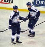 Korbinian Holzer and Petter Granberg of the Toronto Marlies stand on the ice during pre-game warmups before a game against the Grand Rapids Griffins at Comerica Park.